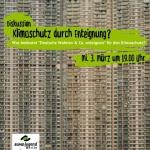 Klimaschutz durch Enteignung? Flyer für Diskussionsveranstaltung am 3. März. Bild zeigt Hochhaus mit vielen Fenstern